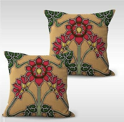 Set of 2 Throw Pillow Cover Art Nouveau Floral Cushion Cover