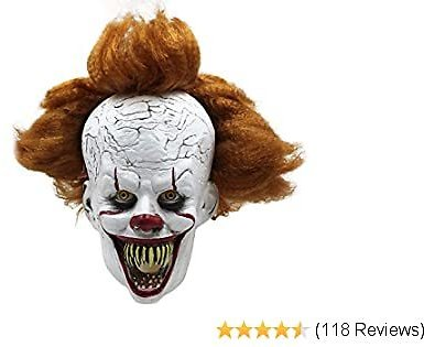 Halloween Mask Creepy Scary Clown Full Face Horror 2019 Movie Joker Costume Party Festival Cosplay Prop Decoration for Adult