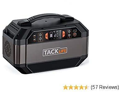 Solar Generator 300W, TACKLIFE 299Wh Portable Power Station, Solar Ready Battery Generator, 110V/300W Pure Sine Wave AC Outlets, Backup Battery for CPAP/Outdoors Camping/RV Travel/Hunting/Fishing