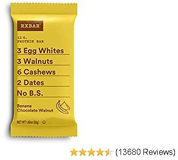 RXBAR, Banana Chocolate Walnut, Protein Bar, 1.83 Ounce (Pack of 12), High Protein Snack, Gluten Free