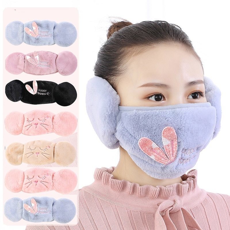 US $3.23 20% OFF|Newest 2 In 1 Fur Earmuffs Mask for Face Winter Accessories for Women Ear Muffs Warmer Cartoon Cute Warm Headphones for Children|Women's Earmuffs| - AliExpress