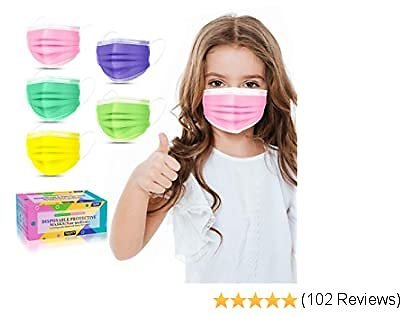 Kids Face Mask Disposable-50 Pack Colorful Mask for Boys and Girls-Soft On Skin, 3 Ply - 5.4