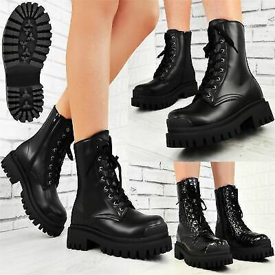 Womens Chunky Strike Ankle Boots Thick Serrated Lug Sole Lace Up Fashion Shoes