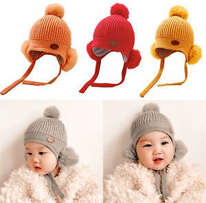 Details About Baby Beanie Earflaps Hat Knit Winter Warm Hats Pom For Toddler Girl Boy Soft Cap