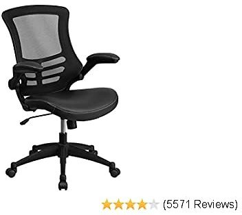 Flash Best Furniture Desk Chair with Wheels Swivel Chair with Mid-Back Black Mesh and LeatherSoft Seat for Home Office and Desk