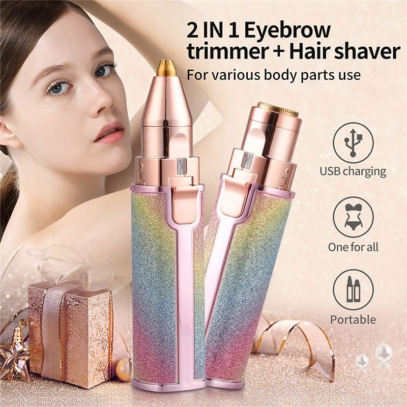 US $5.37 91% OFF|2 In 1 Electric Eyebrow Trimmer Makeup Painless Eye Brow Epilator Mini Shaver Razors Women Portable Facial Body Hair Remover 45|Epilators| - AliExpress