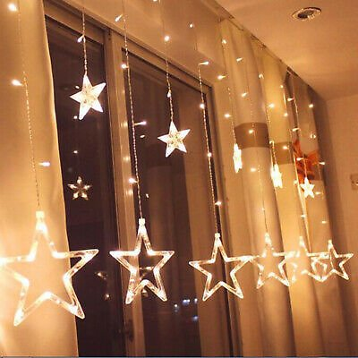 138 LED Star Fairy String Curtain Window Lights Twinkle Christmas Party Wedding
