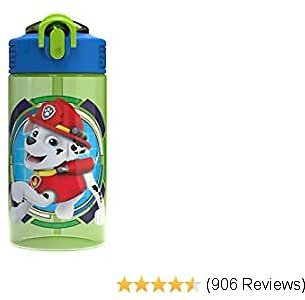 Zak Designs Paw Patrol Kids Spout Cover and Built-in Carrying Loop Made of Plastic, Leak-Proof Water Bottle Design (16 Oz, BPA-Free, Rocky & Rubble & Chase), Rocky, Rubble & Chase