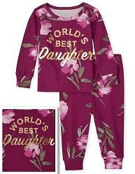 Baby And Toddler Girls Mommy And Me Long Sleeve Foil 'World's Best Daughter' Floral Print Matching Snug Fit Cotton Pajamas