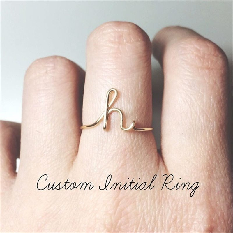 US $0.89 50% OFF|Unisex Gold Silver Color A Z 26 Letters Initial Name Rings for Women Men Geometric Alloy Creative Finger Rings Jewelry Wholesale|Rings| - AliExpress