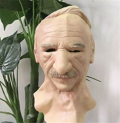 Old Man Mask Halloween Face Cosplay Headgear Wrinkle Bald Real Latex Mask