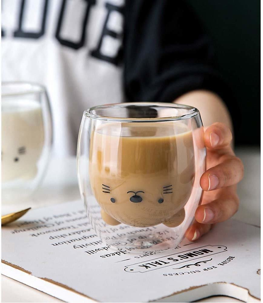 US $0.72 28% OFF|Creative Cute Bear Double Layer Coffee Mug Double Glass Cup Carton Animal Milk Glass Lady Cute Gift Christmas Gift|Mugs| - AliExpress