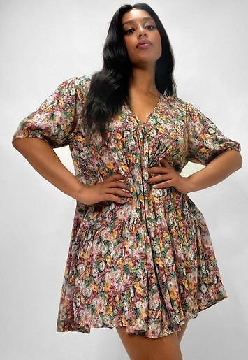 Missguided - Plus Size Pink Floral Print Smock Dress