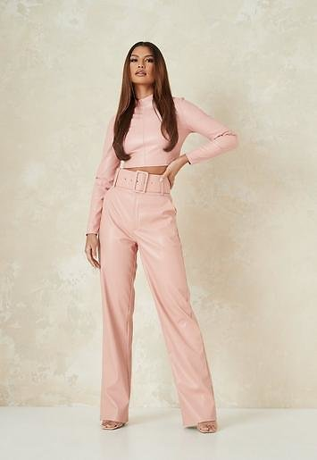 Missguided - Pink Co Ord Faux Leather Tailored Belted Wide Leg Pants