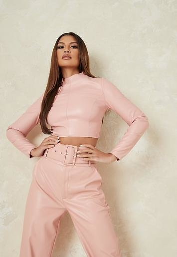 Missguided - Pink Co Ord Faux Leather High Neck Crop Top
