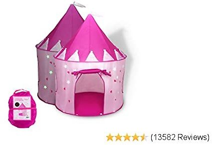 $21.30 List: $34.00 (37% Off) Foxprint Princess Castle Play Tent With Glow In The Dark Stars, Conveniently Folds In To A Carryin