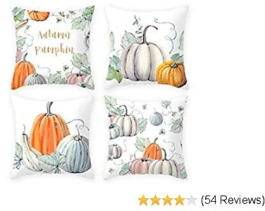 Imandale Fall Pumpkin Throw Pillow Covers - Halloween Thanksgiving Day 4 Pack 18 X 18 Decorative Pillow Covers for Living Room, Bedroom, Dorm (Green)