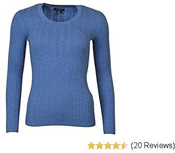 Tommy Hilfiger Womens Scoop Neck Cable Knit Sweater