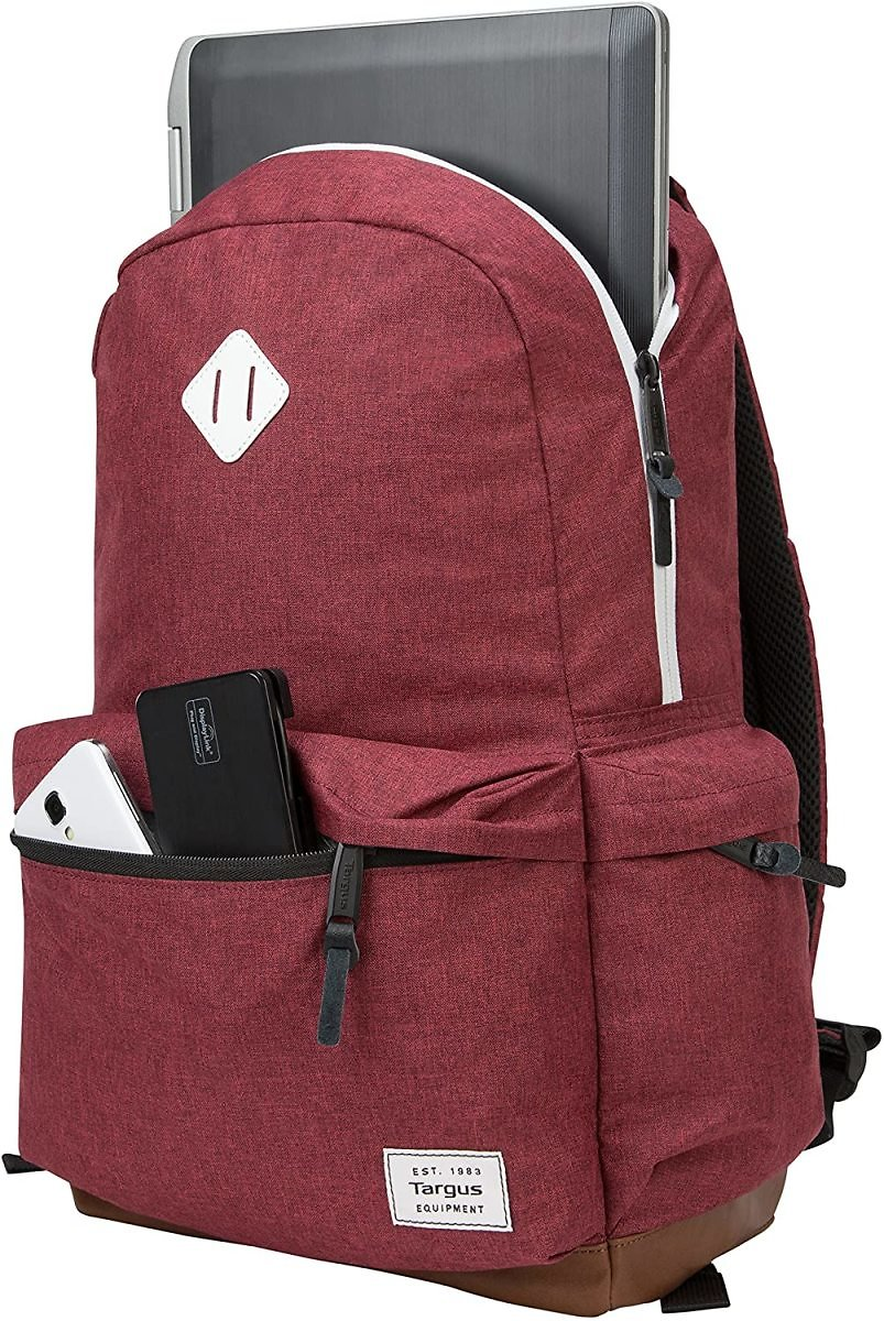 Targus Strata II College and Travel Laptop Backpack with Protective Sleeve for 15.6-Inch Laptop, Burgundy
