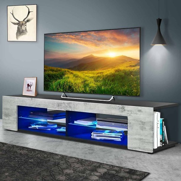Wood TV Media Storage Stand for TVs Up to 65 Media Console Cabinet w/ LED Light and Open Glass Shelves Home Decor