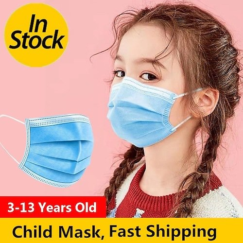 Fast Shipping Kids Disposable Mask 3 Layers Droplets Adult Child Protection Breathable Safety Masks Non-Medical