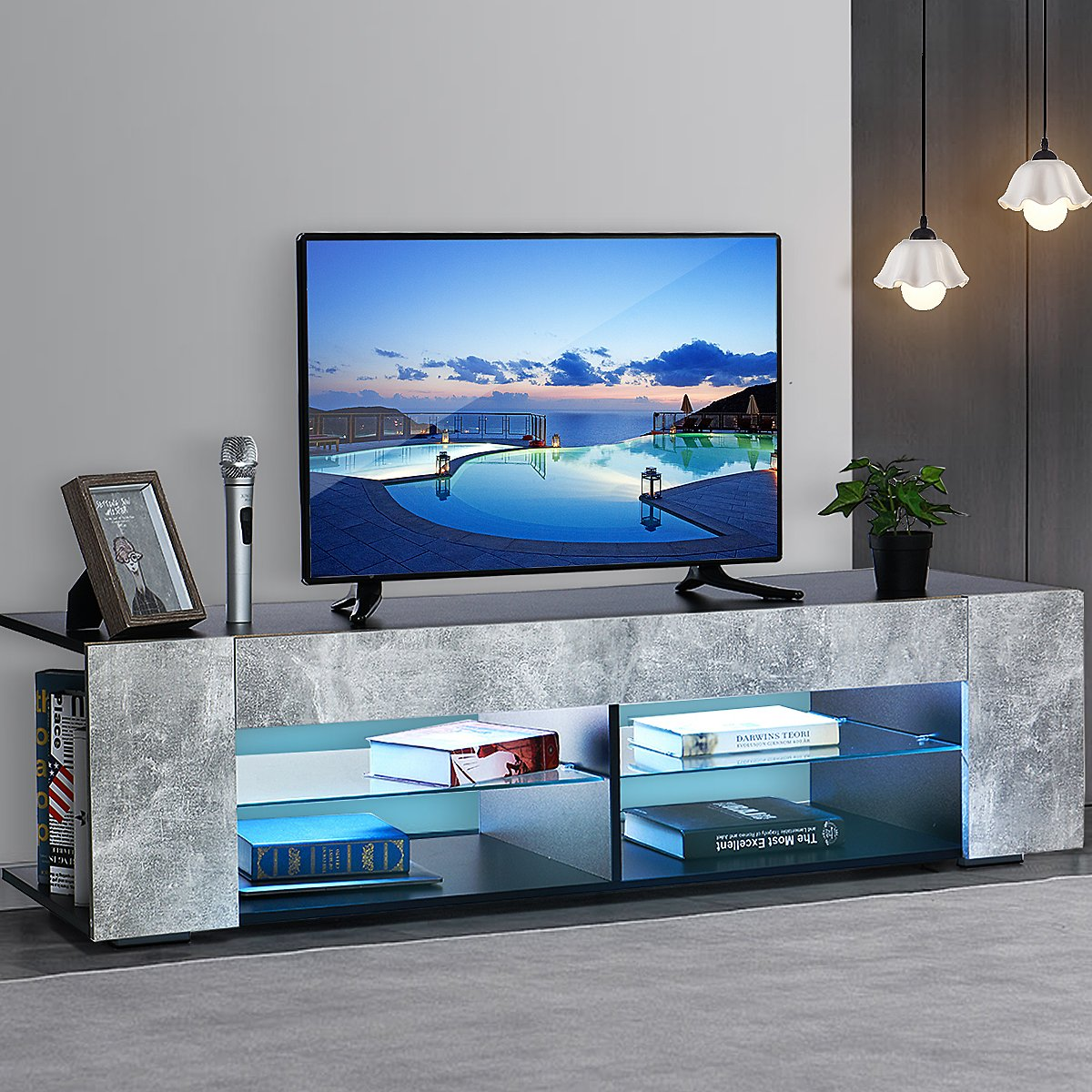 57 TV Stand with Multi-colour RGB LED Light Gray & Black TV Cabinet with Open Glass Shelves for TVs Up to 65