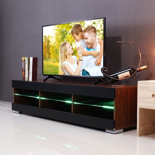 57'' TV Stand Unit Cabinet w/ Open Shelves, Media Console Cabinet with LED Lights, Entertainment Center, for TVs Up to 65
