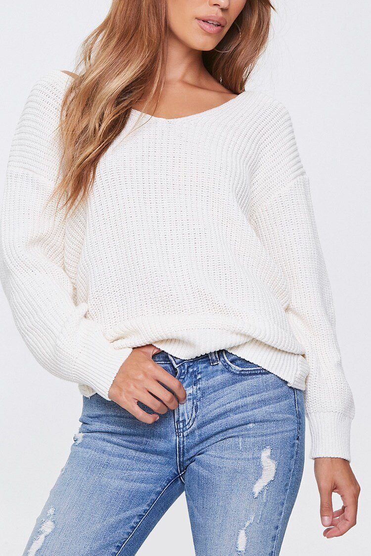 Ribbed Twisted-Back Sweater