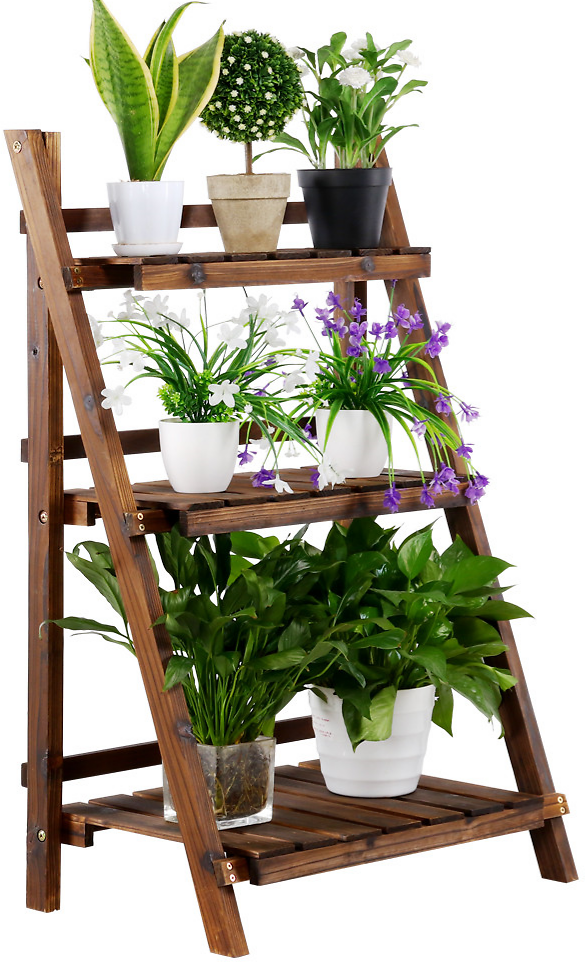 Tier Folding Wooden Flower Stand Plant Display Stand Nature Plant Shelf