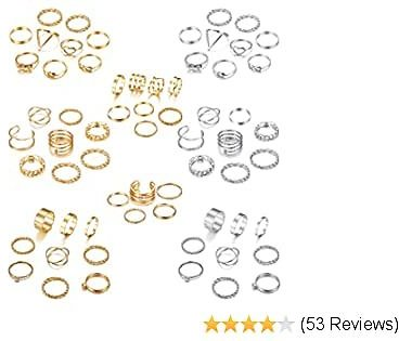 LOYALLOOK 65PCS Bohemian Knuckle Ring Midi Ring Set Hollow Silver Gold Vintage Stackable Rings Fashion Finger Knuckle Midi Rings for Women