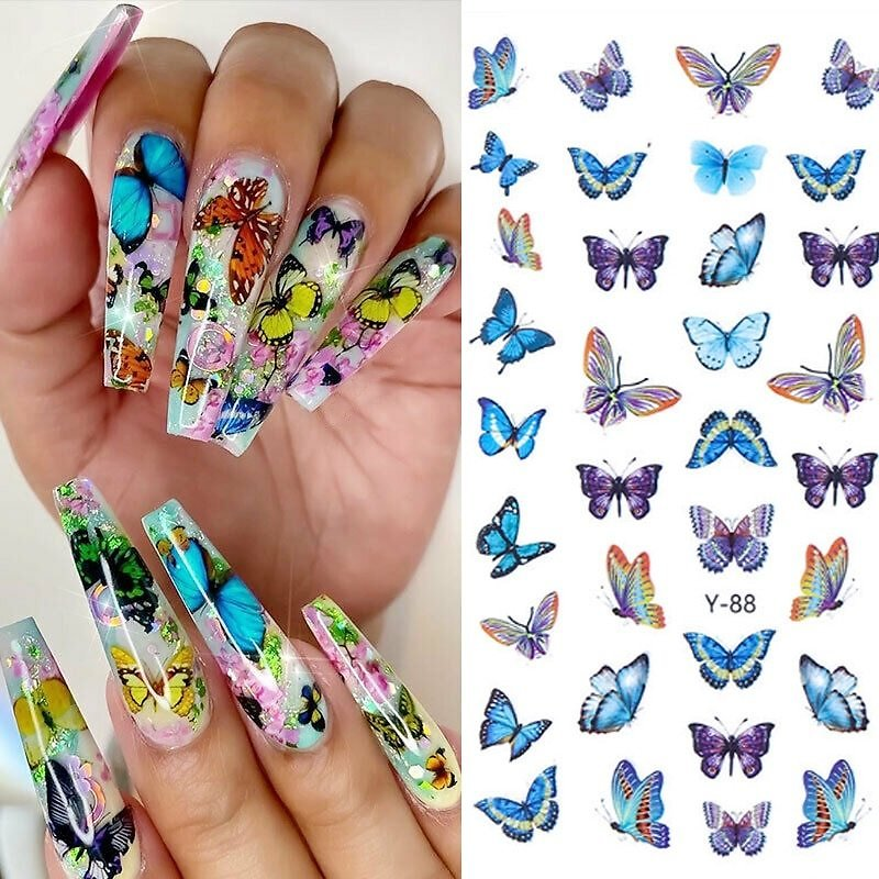 US $0.18 40% OFF|3D Colorful Butterfly Nail Stickers Decorative Nail Art Transfer Decal DIY Butterfly Nail Stickers Nail Decoration|Stickers & Decals| - AliExpress