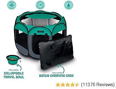 Ruff 'n Ruffus Portable Foldable Pet Playpen + Free Carrying Case + Free Travel Bowl   Available in 3 Sizes   Exercise Pen Kennel Indoor/Outdoor Water-Resistant Removable Shade Cover Dogs/Cats/Rabbit