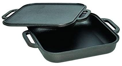 Jim Beam JB0218 3-in-1 Cast Iron Skillet W/Double Sided Griddle