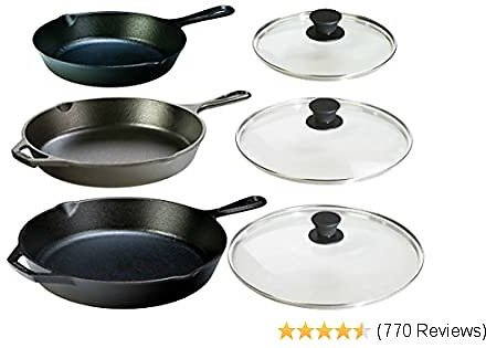 Lodge Seasoned Cast Iron 6 Piece Bundle. Three Sets of Cast Iron Skillets with Tempered Glass Lids. (8 Inch Set + 10.25 Inch Set + 12 Inch Set)
