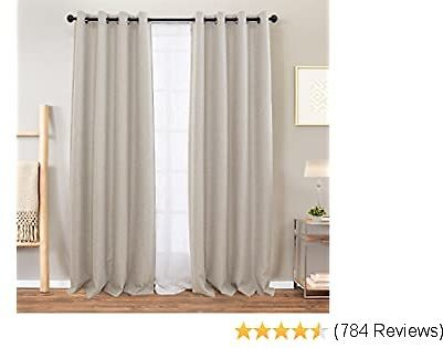 Vangao Room Darkening Curtains for Bedroom Blackout Linen Textured Drapes for Living Room Grommet Top 95 Inches 2 Panels Greyish Beige