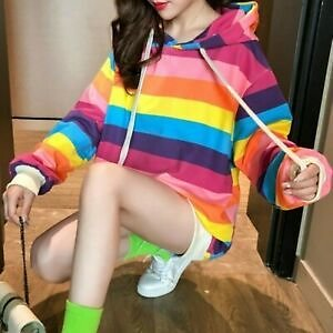 Lady Rainbow Striped Hooded Sweatshirt Tops Pullover Hoodie Loose Casual Fashion