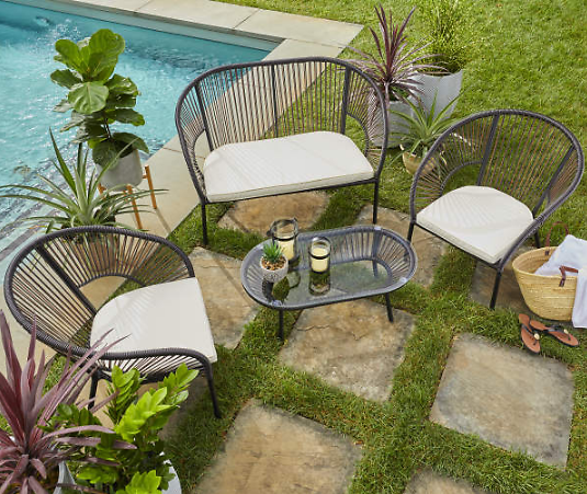 Modern 4-Piece Cushioned Patio Seating All-Weather Wicker Set