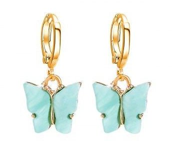 Acrylic Butterfly Small Hoop Drop Earrings
