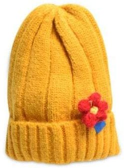 Winter Floral Turn Up Edge Knitted Hat