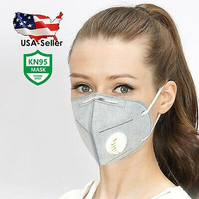 [5 (FIVE) PCS/PACK] GRAY Reusable Face Mask with Breathing Valve   USA SELLER 672975579067