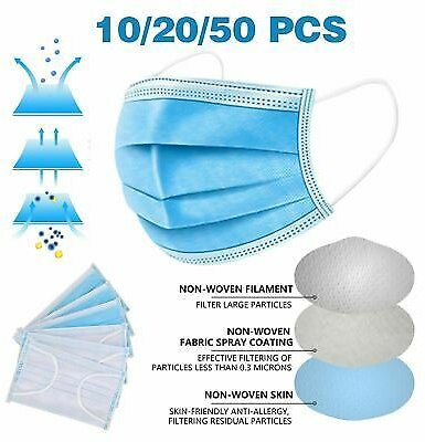 Face Mask Mouth Nose Cover Respirator Safe Sanitary Protector 10, 20, 50,100 PCS