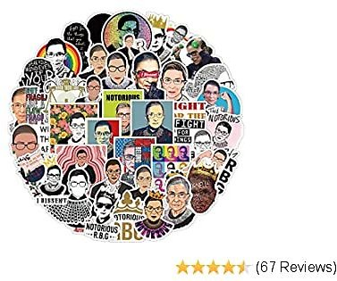 Ruth Bader Ginsburg Stickers (50 PCS),Women Power Feminist Gifts,RBG Womens Rights Stickers Waterproof for Water Bottle Laptop Scrapbooking Luggage Guitar Skateboard