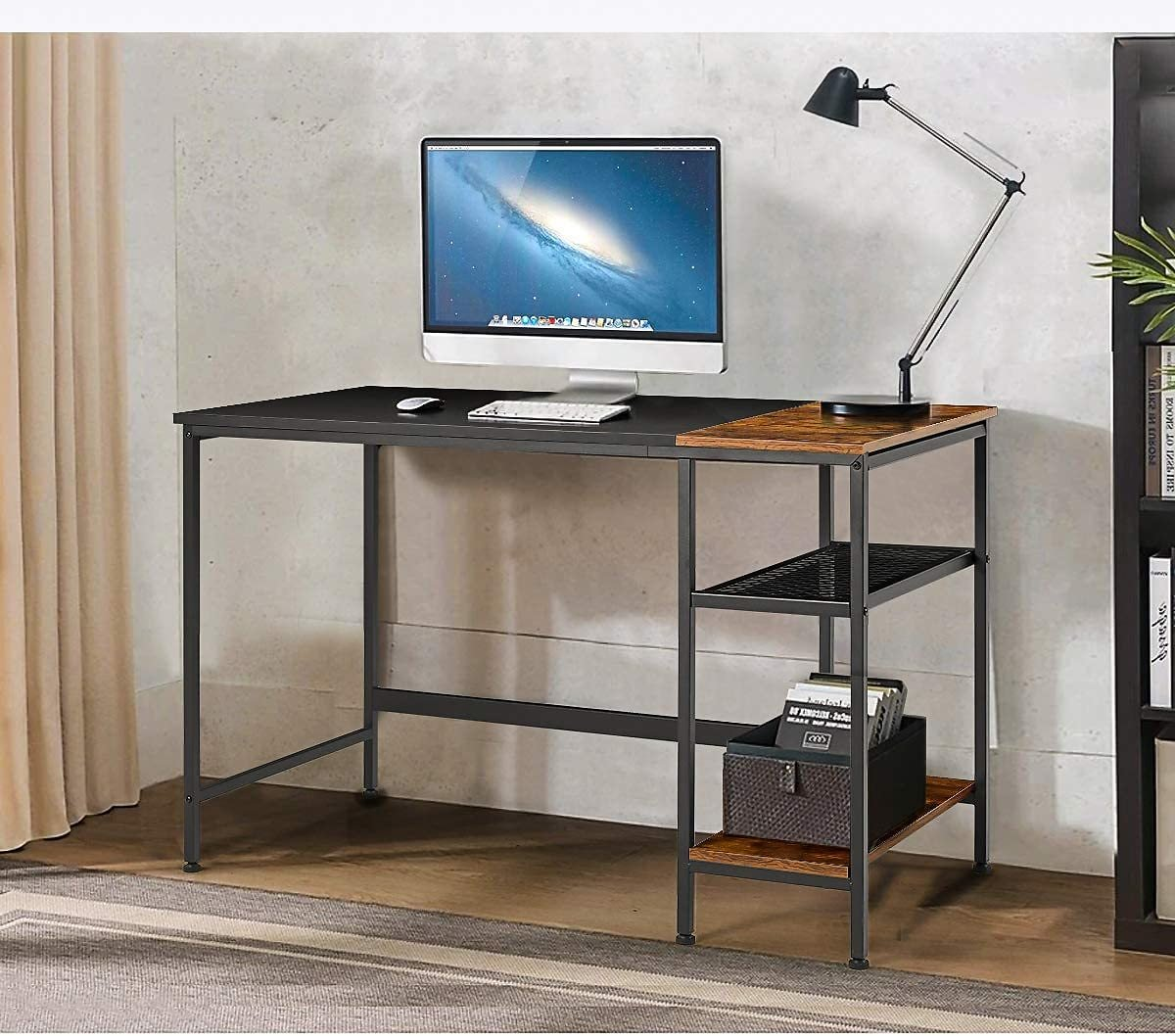 Erommy Computer Desk with Storage Bookshelves,47 Inch Modern Sturdy Writing Desk,PC Table with Space Saving Design,Home Office D