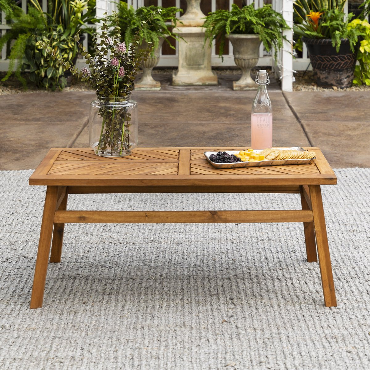 Manor Park Wood Outdoor Coffee Table with Chevron Design, Brown
