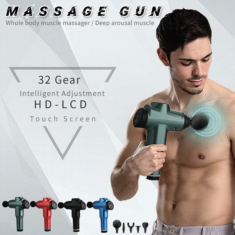 LCD Display Body Massage Gun Exercising Muscle Electric Massager for Body and Neck Vibrator Deep Slimming Shaping