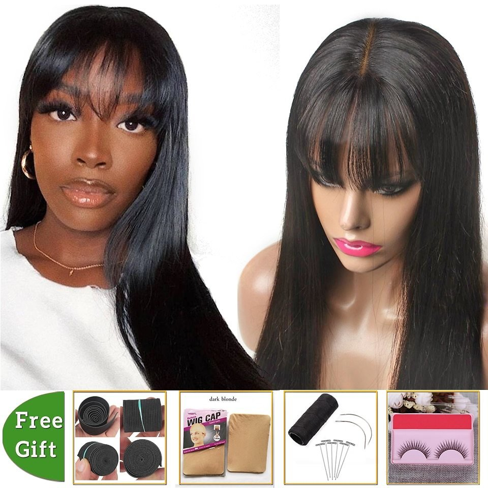 Brazilian Straight Human Hair Wigs Fake Scalp Lace Wig With Bangs Cheap Human Hair Wigs for Black Women Non-Remy