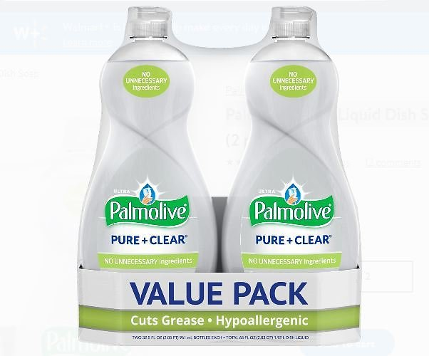 2 Pack Palmolive Ultra Liquid Dish Soap, Pure and Clear - 32.5 Fluid Ounce