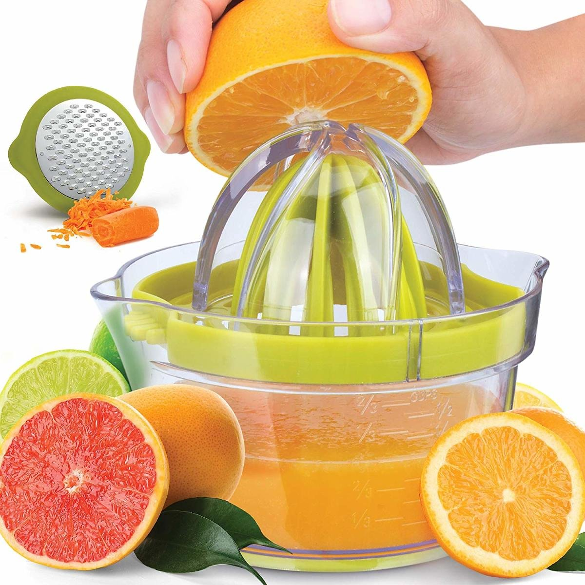 Lemon Orange Citrus Juicer, Manual Hand Juicer with Built-In Strainer and Measuring Cup, 2 Size Reamers, Citrus Juice Extractor