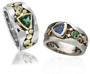 Elegant Two Tone 925 Silver Rings for Women Blue Sapphire Ring Size 6-10 Gift