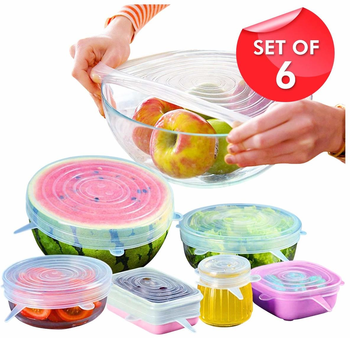 6-Pack of Silicone Stretch Lids, Various Sizes for Different Shapes of Containers – Eco-friendly, BPA-free and Leak-proof (Clear